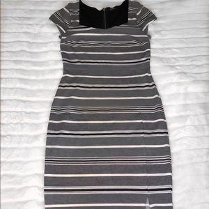 Express black and white striped midi dress